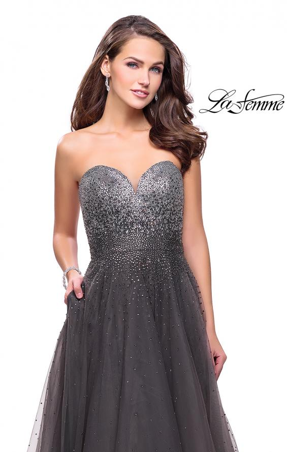 Picture of: Long Strapless Ball Gown with Metallic Ombre Rhinestones in Gunmetal, Style: 26264, Detail Picture 2