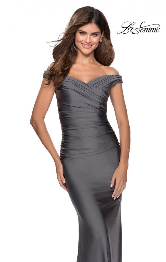 Picture of: Off the Shoulder Prom Dress with Sweetheart Neckline in Gunmetal, Style: 28450, Detail Picture 4