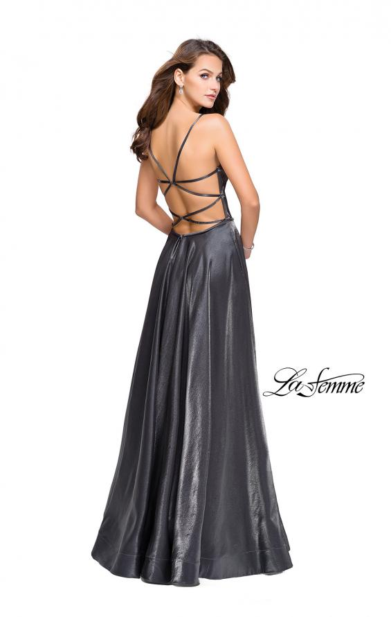Picture of: Satin A-line Gown with Deep V Sweetheart Neckline in Gunmetal, Style: 25670, Detail Picture 5