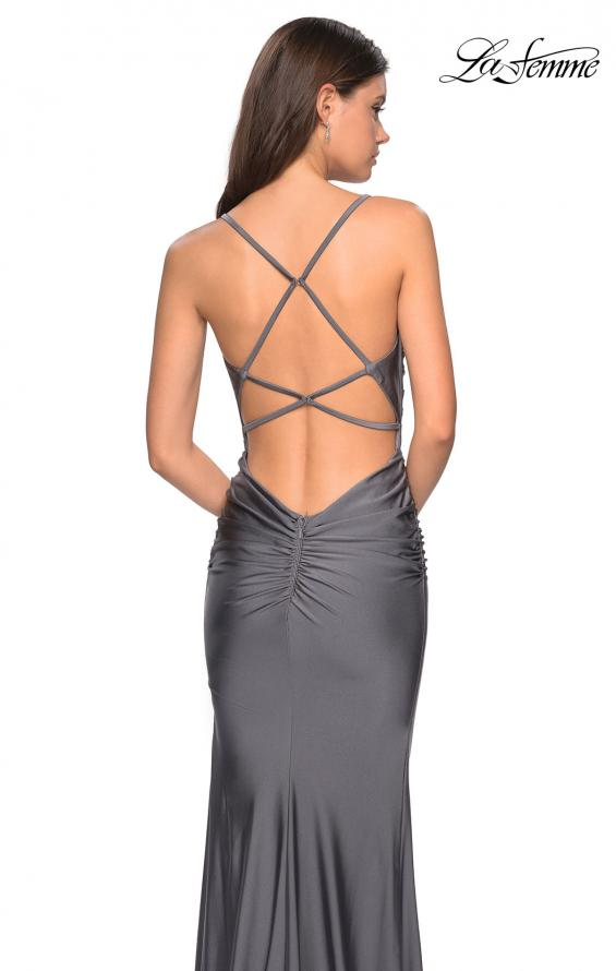 Picture of: Form Fitting Jersey Dress with Ruching and Strappy Back, Style: 27501, Detail Picture 5