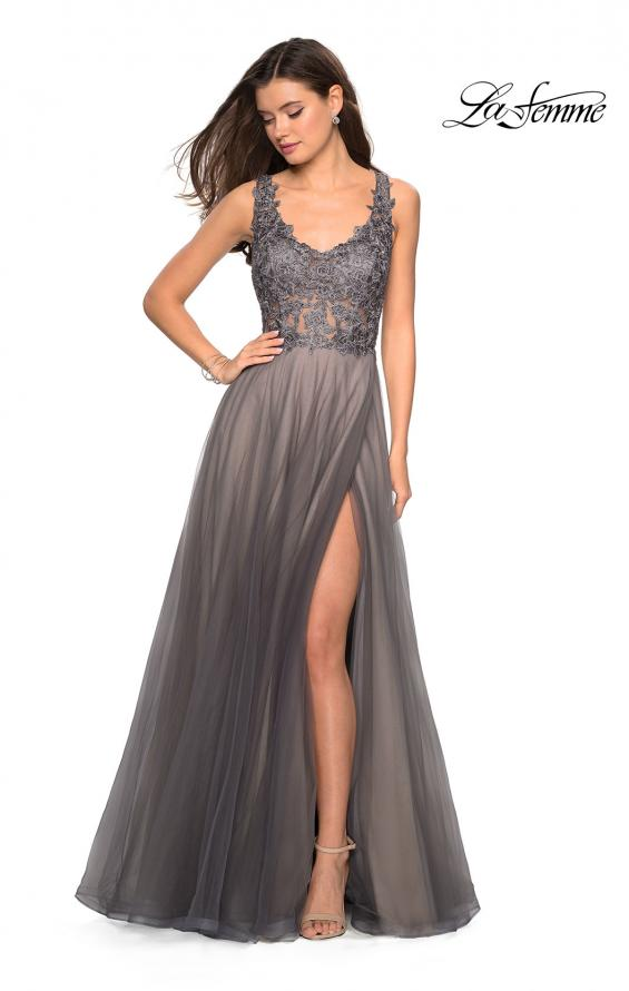 Picture of: Long Tulle Gown with Embellished Sheer Bodice, Style: 27574, Detail Picture 5