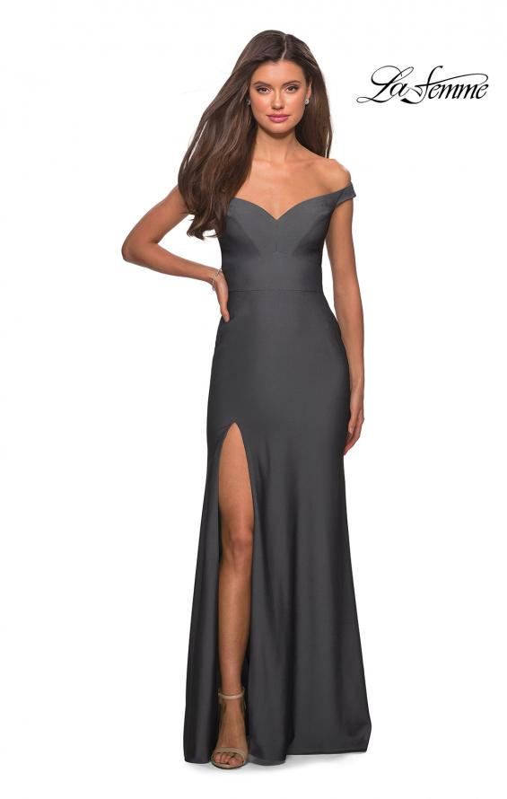 Picture of: Elegant Off the Shoulder Dress with Side Leg Slit in Gunmetal, Style: 27587, Detail Picture 6