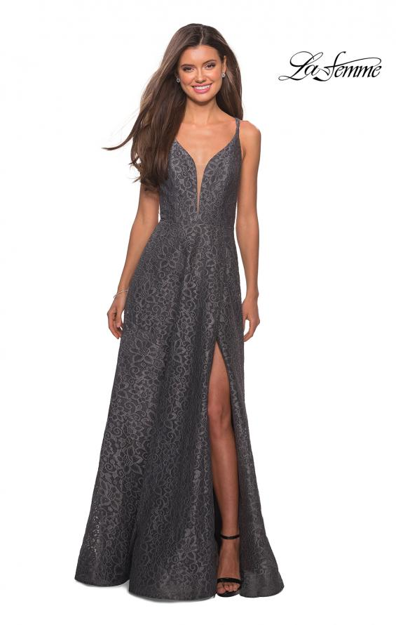 Picture of: Lace Prom Dress with Illusion Neckline and Slit in Gunmetal, Style: 27612, Detail Picture 6