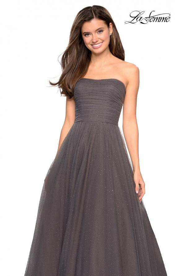 Picture of: Strapless Fully Rhinestone A-Line Prom Dress in Gunmetal, Style: 27630, Detail Picture 6
