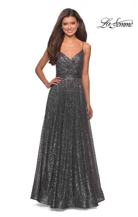 Picture of: sequin Empire Waist Prom Dress with V Back, Style: 27747, Detail Picture 6
