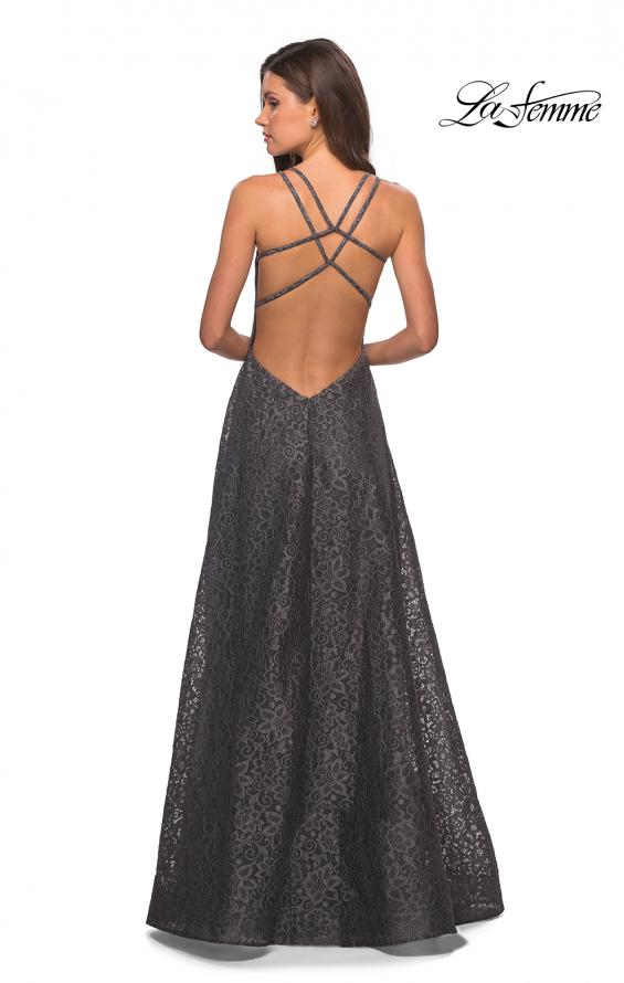 Picture of: Lace Prom Dress with Illusion Neckline and Slit in Gunmetal, Style: 27612, Detail Picture 7