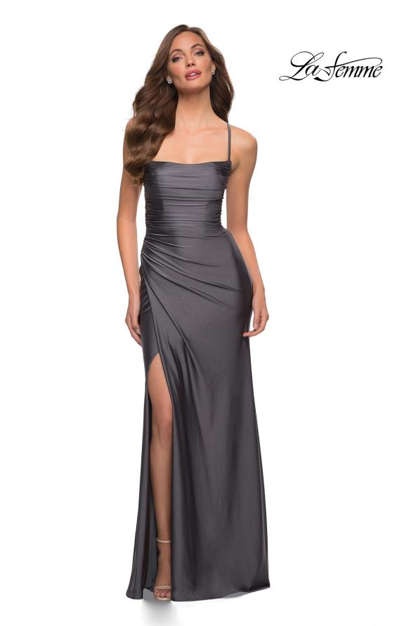 Picture of: Jersey Dress with Square Neckline and Ruching in Gunmetal, Style 29710, Detail Picture 7