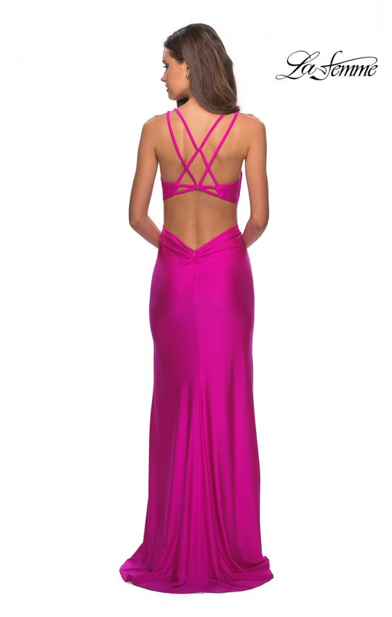 Picture of: Form Fitting Long Jersey Dress with Plunging Neckline in Hot Fucshia, Style: 27602, Detail Picture 8