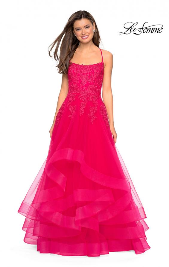 Picture of: Layered Tulle Dress with Lace Detail and Strappy Back in Hot Fuchsia, Style: 27694, Detail Picture 2