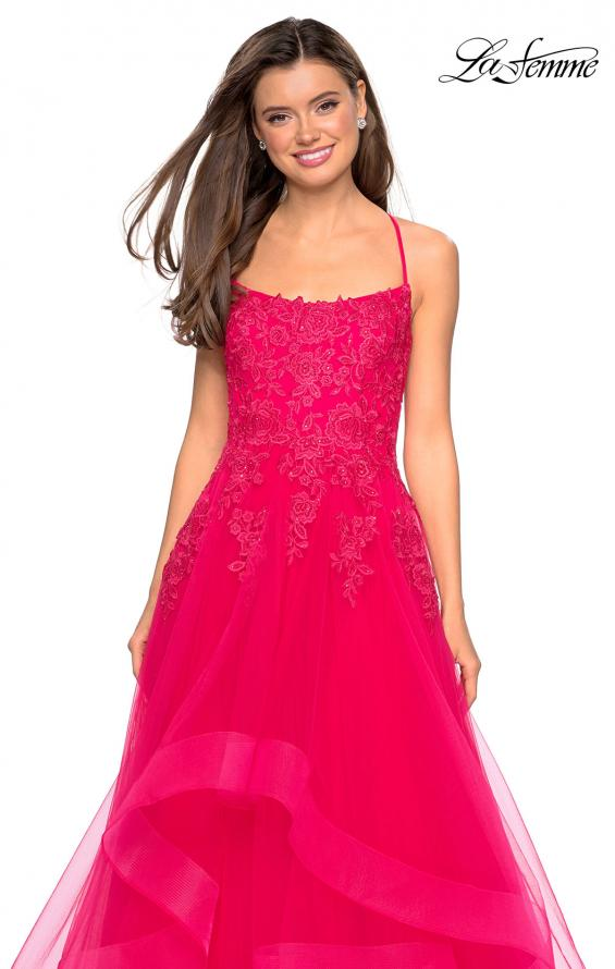 Picture of: Layered Tulle Dress with Lace Detail and Strappy Back in Hot Fuchsia, Style: 27694, Detail Picture 5