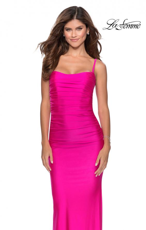 Picture of: Long Ruched Jersey Prom Dress with Thin Straps in Hot Pink, Style: 28398, Detail Picture 8