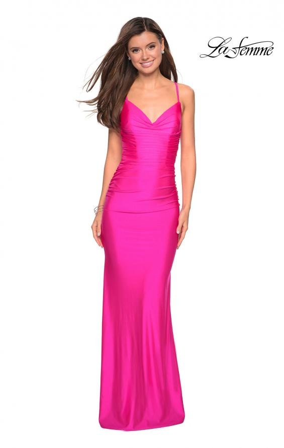 Picture of: Form Fitting Jersey Dress with Ruching and Strappy Back in Hot Pink, Style: 27501, Detail Picture 10