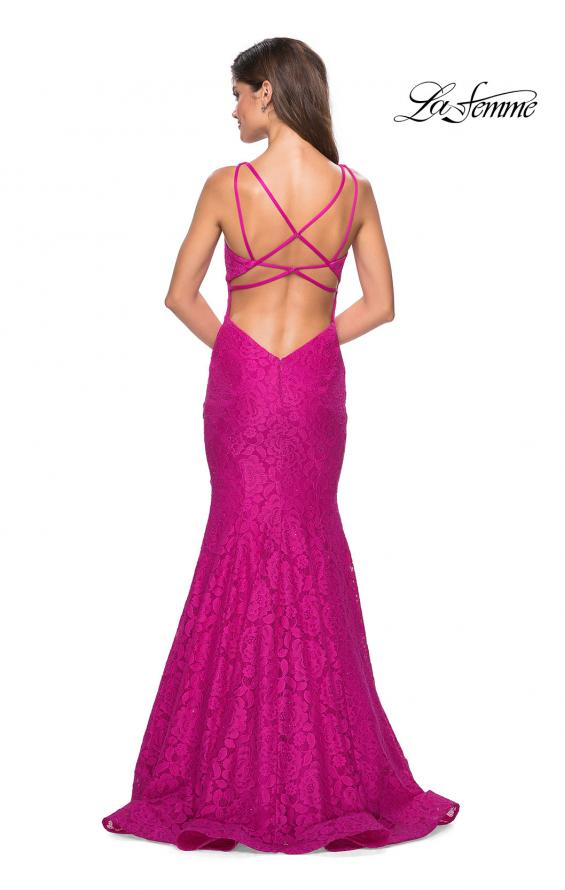 Picture of: Stretch Lace Long Dress with Open Strappy Back in Hot Pink, Style: 27623, Back Picture