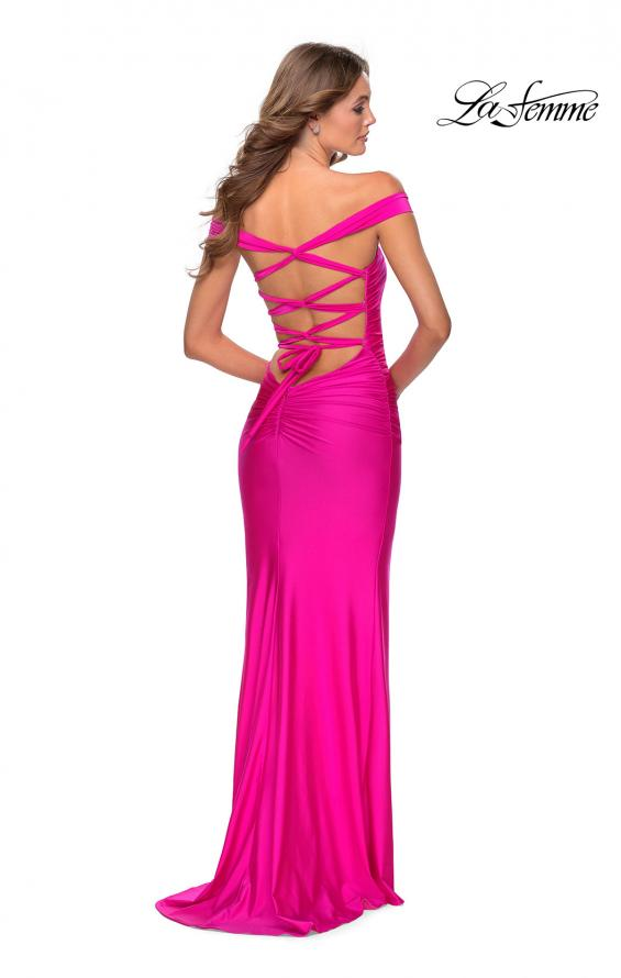 Picture of: Off the Shoulder Prom Dress with Tie Back and Slit in Hot Pink, Style: 28506, Back Picture