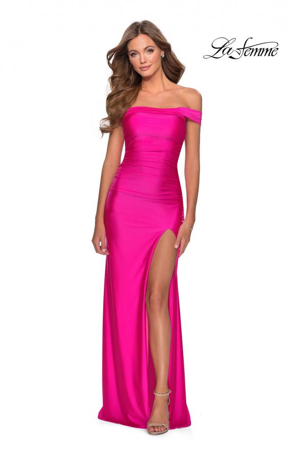 Picture of: Off the Shoulder Prom Dress with Tie Back and Slit in Hot Pink, Style: 28506, Detail Picture 1