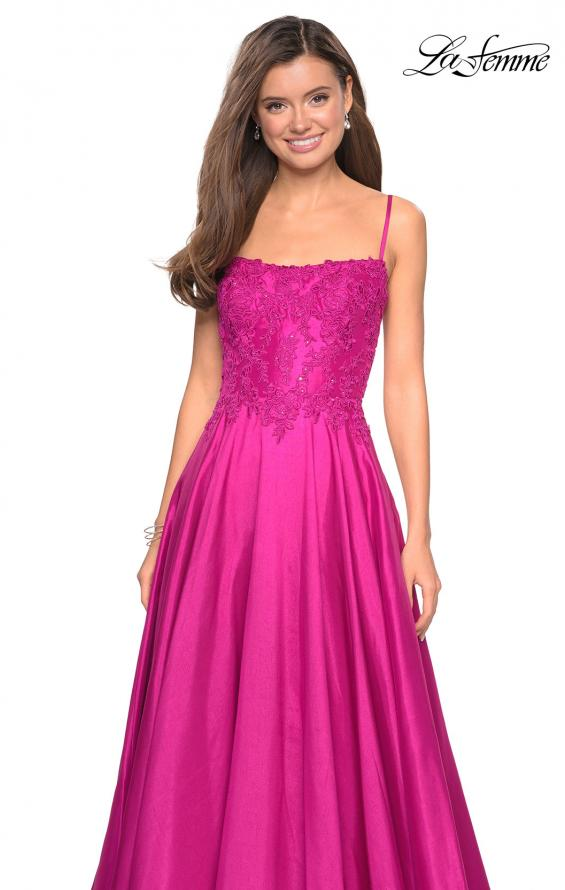 Picture of: Long Mikado Gown with Lace Bust and Open Back in Hot Pink, Style: 27222, Detail Picture 2
