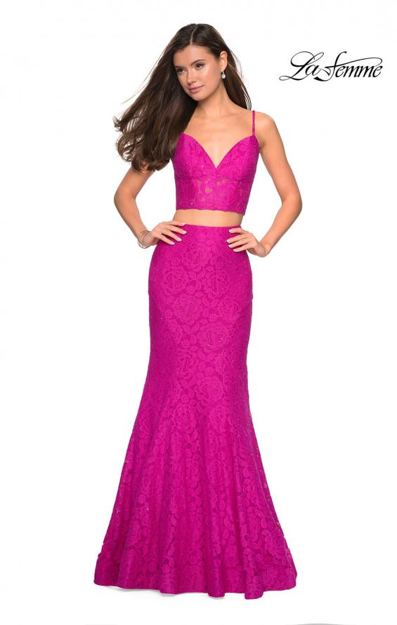 Picture of: Lace Two Piece Gown with Rhinestone Accents, Style: 27589, Detail Picture 2