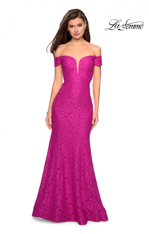 Picture of: Stretch Lace Off the Shoulder Mermaid Prom Dress, Style: 27613, Detail Picture 2