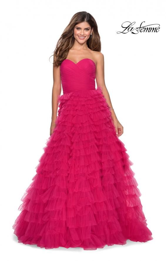 Picture of: Cascading Tulle Strapless Gown with Ruching in Hot Pink, Style: 28345, Detail Picture 3