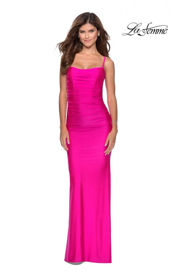 Picture of: Long Ruched Jersey Prom Dress with Thin Straps in Hot Pink, Style: 28398, Detail Picture 3