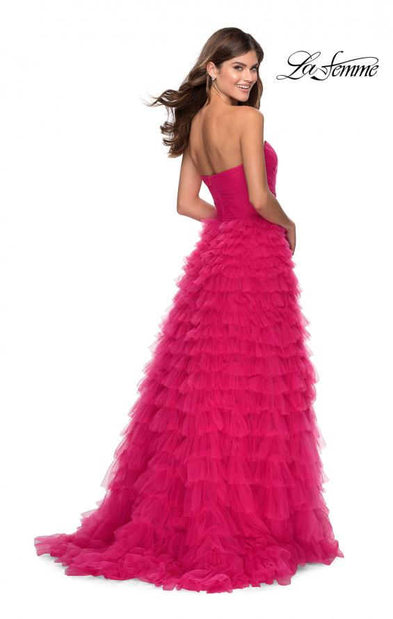 Picture of: Cascading Tulle Strapless Gown with Ruching in Hot Pink, Style: 28345, Detail Picture 4