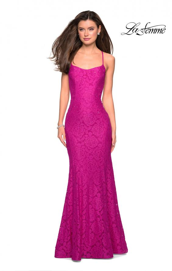 Picture of: Stretch Lace Gown with Square Neckline and Open Back in Hot Pink, Style: 27565, Detail Picture 6