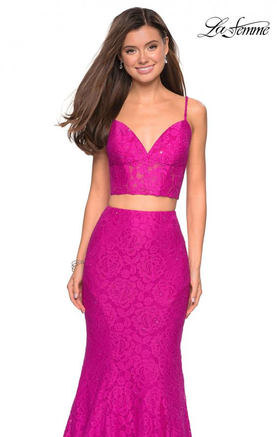 Picture of: Lace Two Piece Gown with Rhinestone Accents, Style: 27589, Detail Picture 6