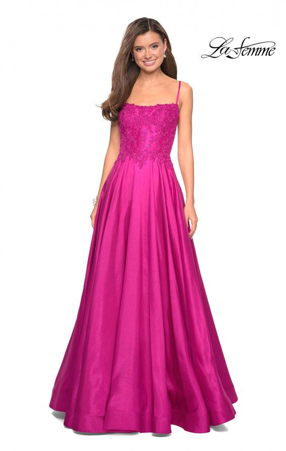 Picture of: Long Mikado Gown with Lace Bust and Open Back in Hot Pink, Style: 27222, Detail Picture 7