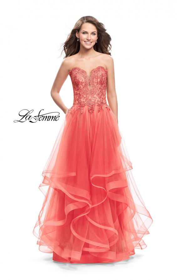 Picture of: Strapless Ruffle Tulle Ball Gown with Beaded Lace Bodice in Hot Coral, Style: 25515, Main Picture