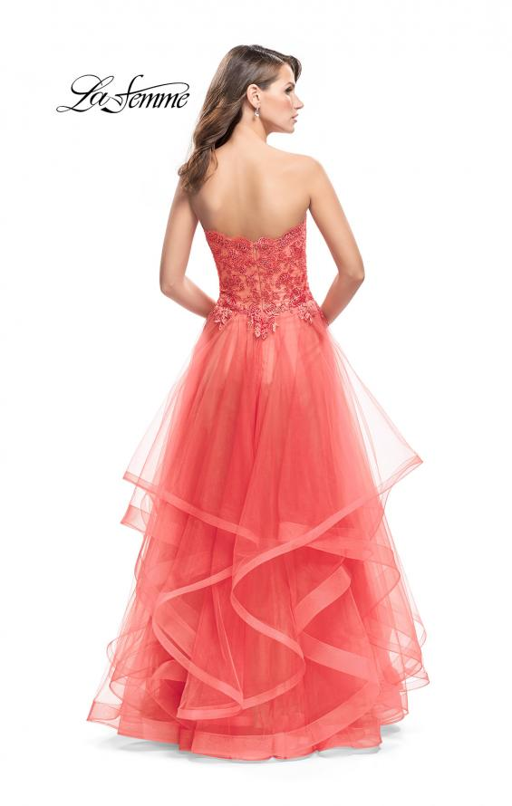 Picture of: Strapless Ruffle Tulle Ball Gown with Beaded Lace Bodice in Hot Coral, Style: 25515, Back Picture