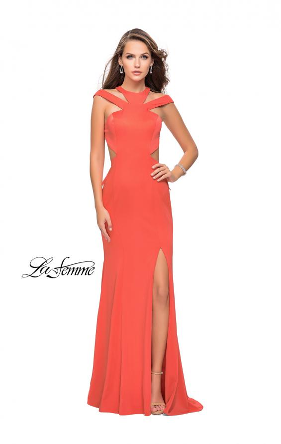 Picture of: Long Jersey Prom Dress with Ruffle Detail and Slit in Hot Coral, Style: 25971, Back Picture