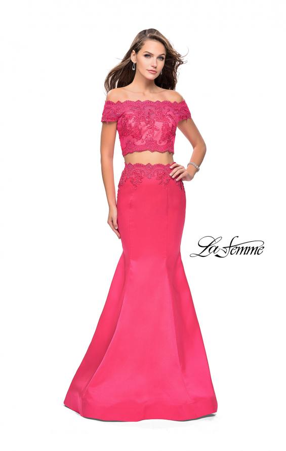 Picture of: Mikado Two Piece Prom Dress with Lace and Beading, Style: 25583, Main Picture
