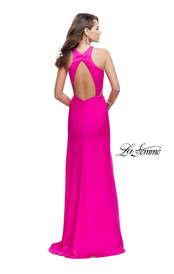 Picture of: Satin Prom Gown with High Neck and Side Cut Outs in Hot Pink, Style: 26005, Back Picture