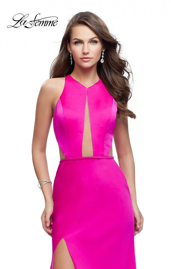 Picture of: Satin Prom Gown with High Neck and Side Cut Outs in Hot Pink, Style: 26005, Detail Picture 1