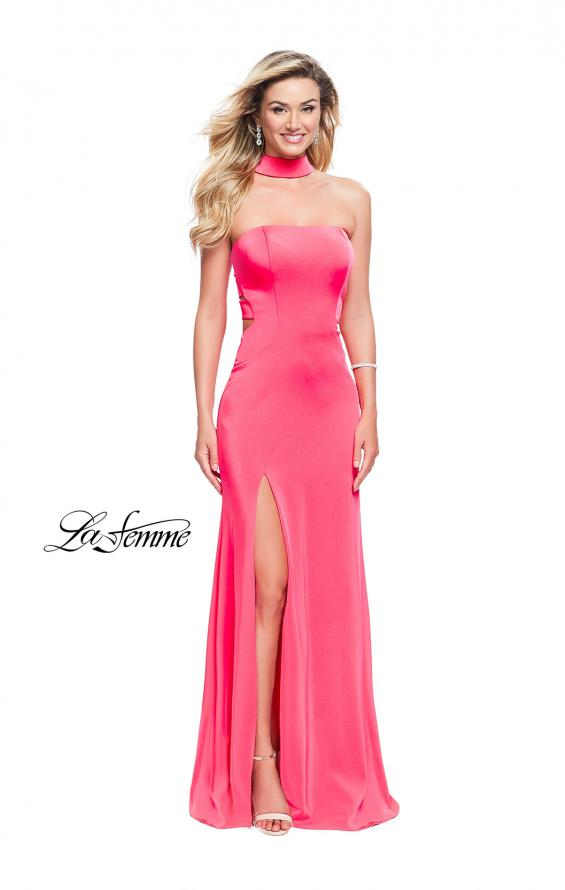 Picture of: Strapless Jersey Prom Dress with Attached Choker in Hot Pink, Style: 25735, Detail Picture 2