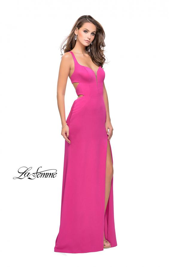 Picture of: Form Fitting Satin Gown with Side Cut Outs and V Neckline in Hot Pink, Style: 25853, Detail Picture 5