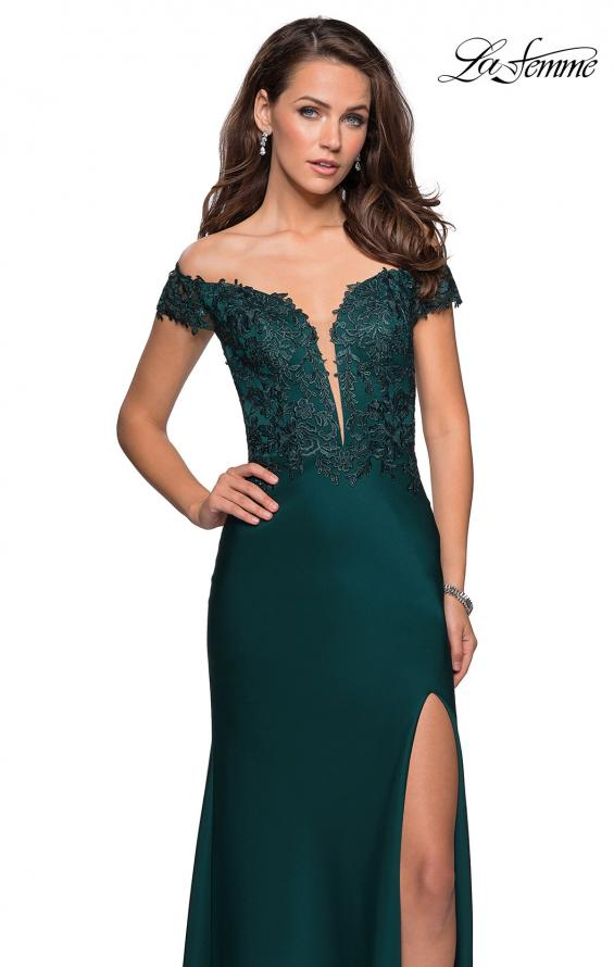 Picture of: Off The Shoulder Gown with Lace Bust and Slit in HUnter Green, Style: 27097, Detail Picture 4