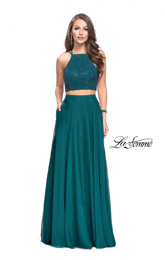Picture of: Long Chiffon Two Piece Prom Dress with Metallic Beading in Hunter Green, Style: 26002, Main Picture