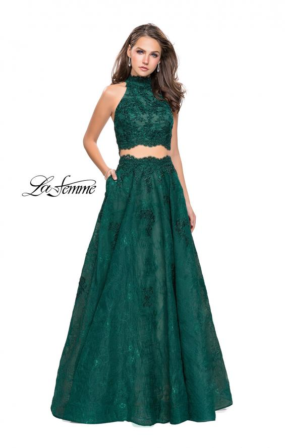 Picture of: Long Lace A-line Two Piece Prom Dress with Cut Outs in Hunter Green, Style: 26103, Detail Picture 1