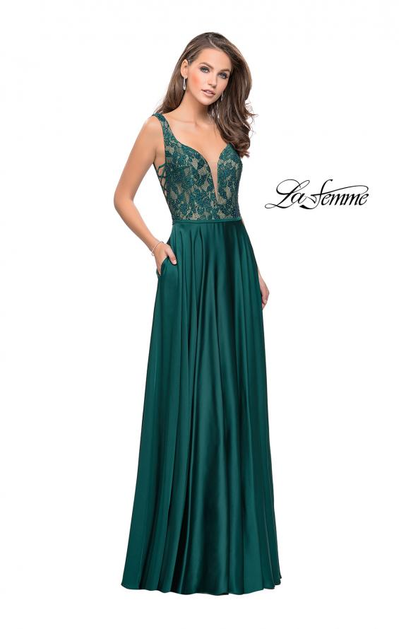 Picture of: Long A line Prom Dress with Lace Up Side Cut Outs in Hunter Green, Style: 25436, Detail Picture 2