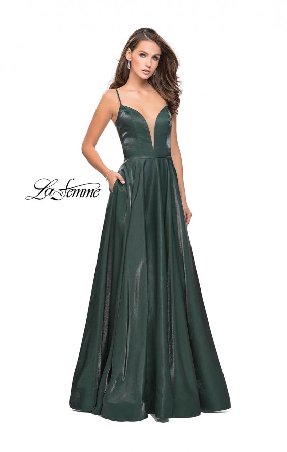 Picture of: Satin A-line Gown with Deep V Sweetheart Neckline in Hunter Green, Style: 25670, Detail Picture 2