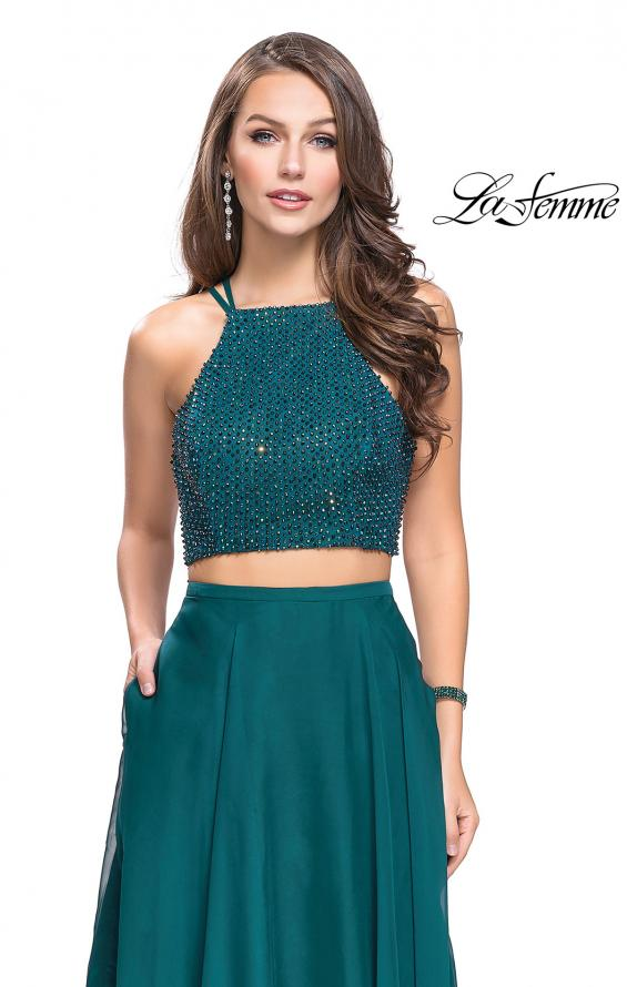 Picture of: Long Chiffon Two Piece Prom Dress with Metallic Beading in Hunter Green, Style: 26002, Detail Picture 2