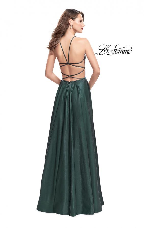 Picture of: Satin A-line Gown with Deep V Sweetheart Neckline in Hunter Green, Style: 25670, Detail Picture 3