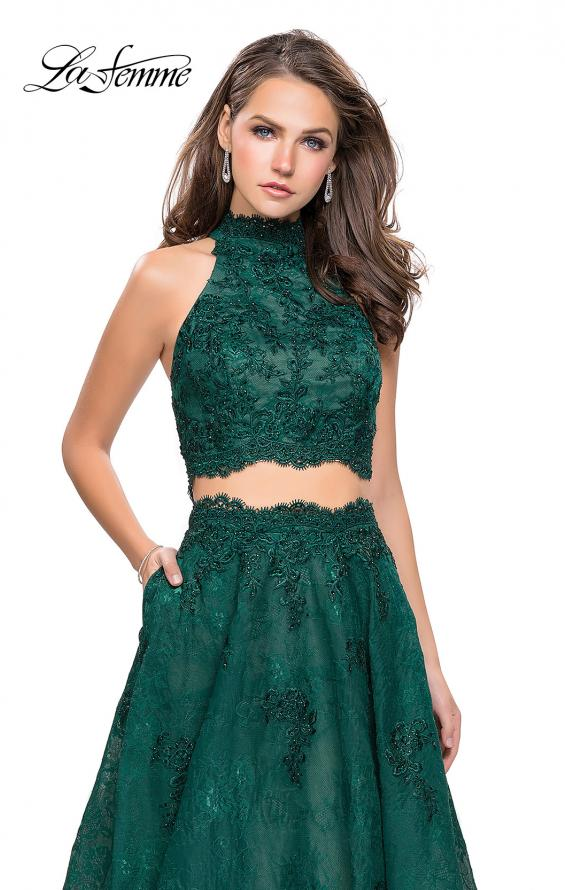 Picture of: Long Lace A-line Two Piece Prom Dress with Cut Outs in Hunter Green, Style: 26103, Detail Picture 4