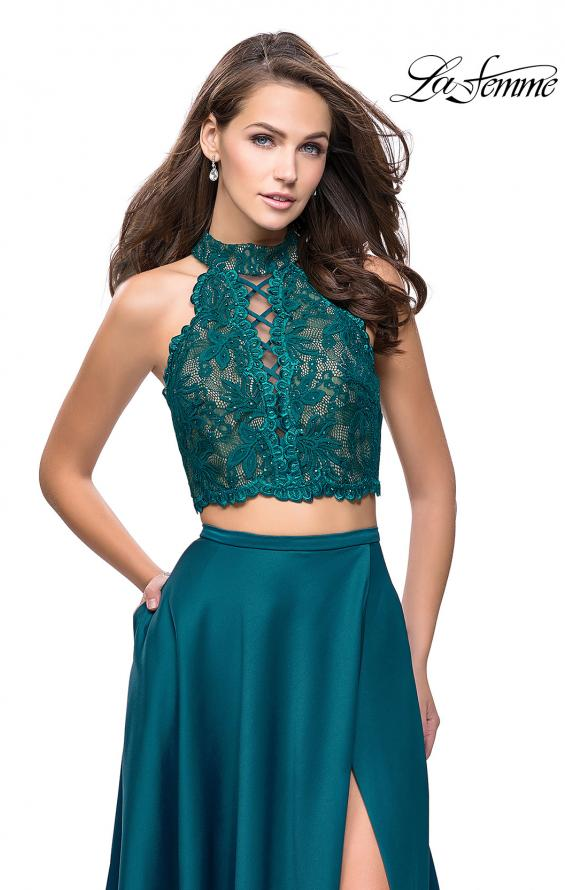 Picture of: Two piece gown with lace up top and satin A line skirt, Style: 25263, Detail Picture 5