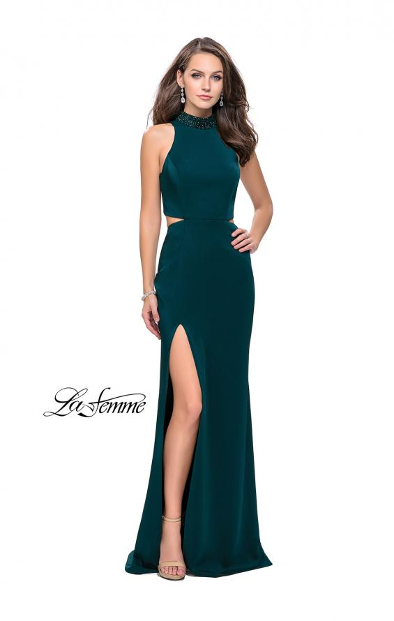Picture of: Long Jersey Prom Dress with Side Cut Outs and Beading, Style: 25641, Detail Picture 5