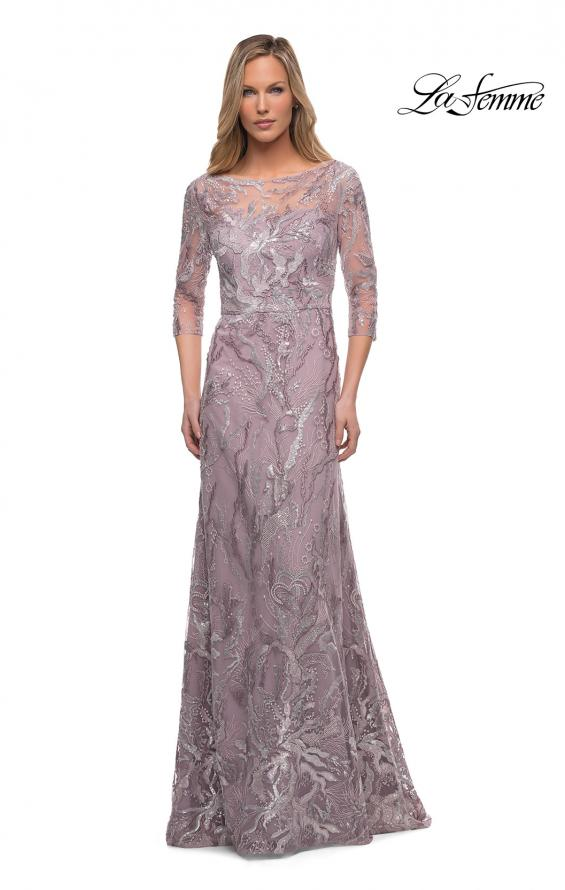 Picture of: Sequin Lace Long Dress with Sheer Sleeves in Icy Mauve, Main Picture