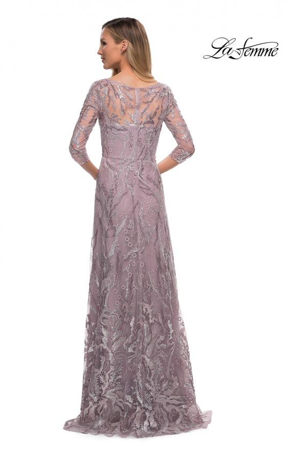 Picture of: Sequin Lace Long Dress with Sheer Sleeves in Icy Mauve, Back Picture