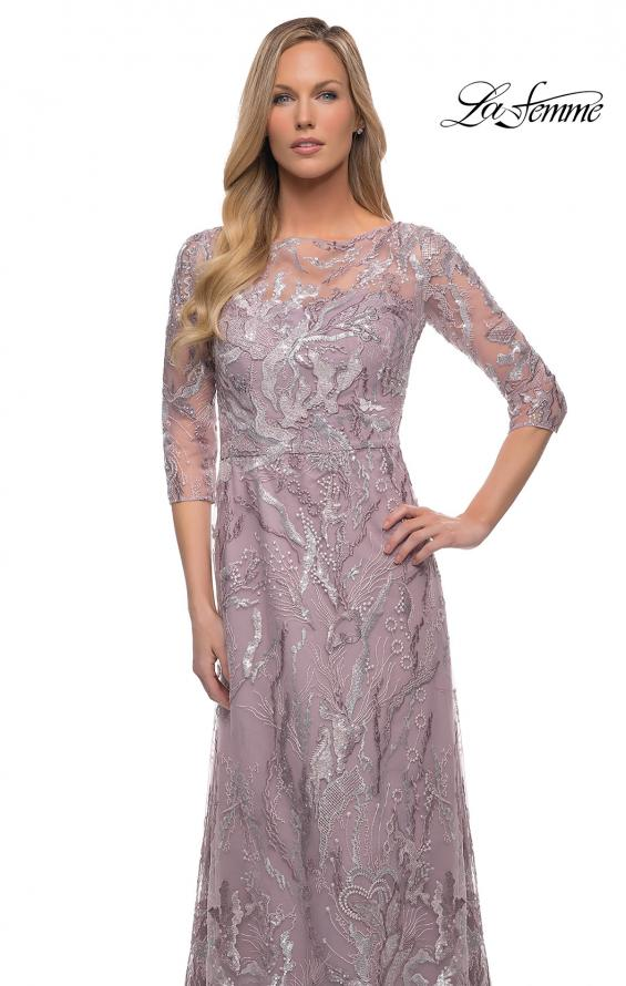 Picture of: Sequin Lace Long Dress with Sheer Sleeves in Icy Mauve, Detail Picture 1