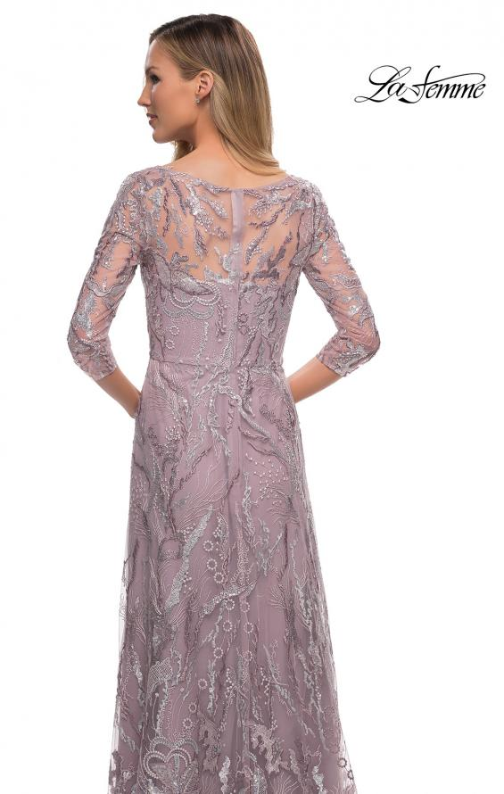 Picture of: Sequin Lace Long Dress with Sheer Sleeves in Icy Mauve, Detail Picture 2